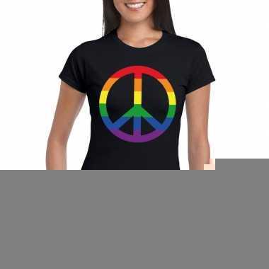 Goedkope gay pride regenboog peace teken shirt zwart dames