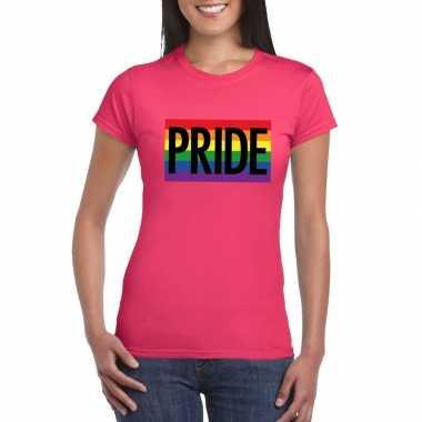 Goedkope gay pride regenboog shirt pride roze dames