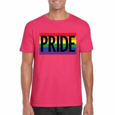 Goedkope gay pride regenboog shirt pride roze heren