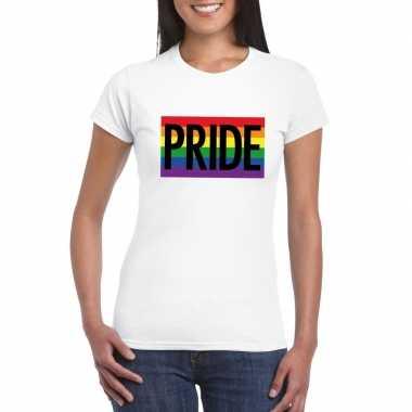 Goedkope gay pride regenboog shirt pride wit dames