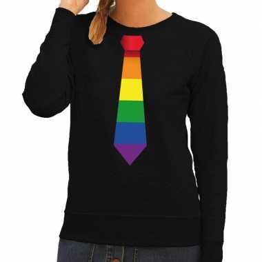 Goedkope gay pride regenboog stropdas sweater zwart dames