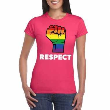Goedkope gay pride respect lgbt shirt roze dames