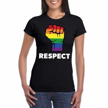 Goedkope gay pride respect lgbt shirt zwart dames