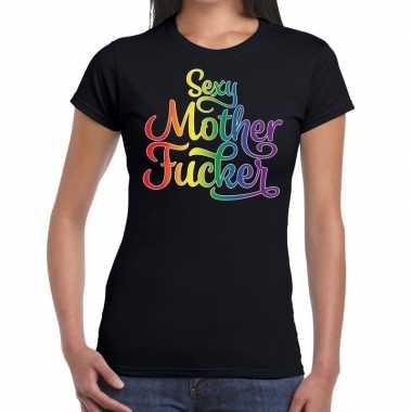 Goedkope gay pride sexy mother fucker shirt zwart dames