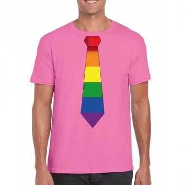 Goedkope gay pride shirt met regenboog stropdas azalea roze heren