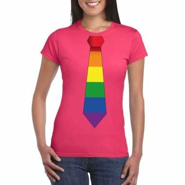 Goedkope gay pride shirt met regenboog stropdas roze dames
