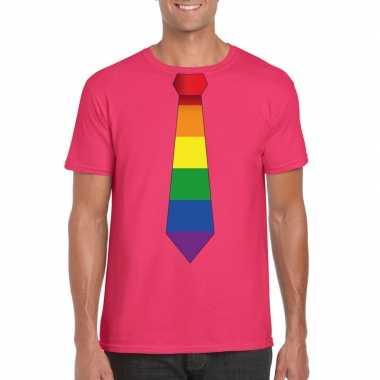 Goedkope gay pride shirt met regenboog stropdas roze heren