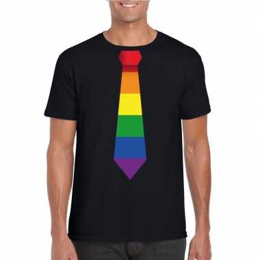Goedkope gay pride shirt met regenboog stropdas zwart heren