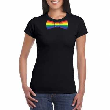 Goedkope gay pride shirt met regenboog vlinderstrikje zwart dames