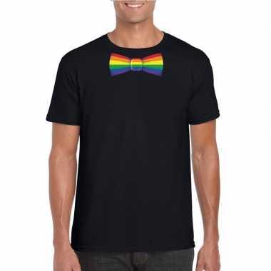 Goedkope gay pride shirt met regenboog vlinderstrikje zwart heren