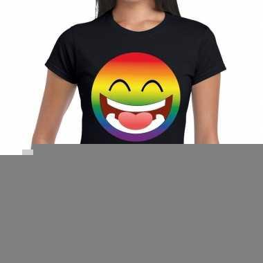 Goedkope gay pride smiley figuur shirt zwart dames