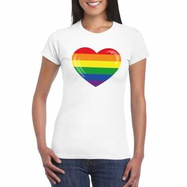 Goedkope gay pride t shirt regenboog vlag in hart wit dames