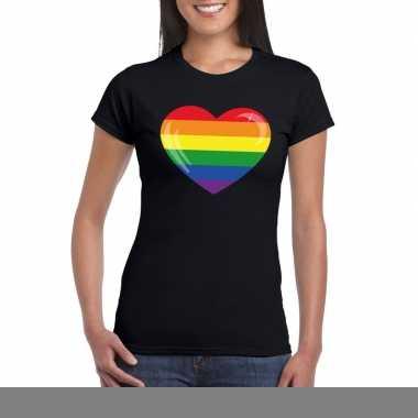 Goedkope gay pride t shirt regenboog vlag in hart zwart dames
