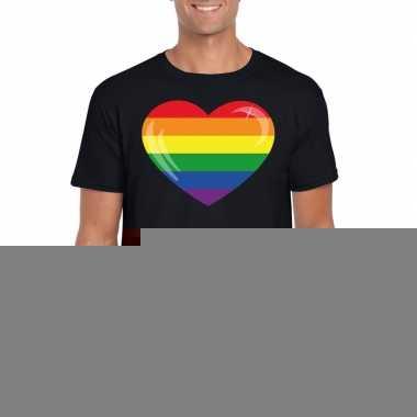 Goedkope gay pride t shirt regenboog vlag in hart zwart heren