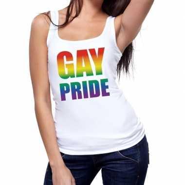 Goedkope gay pride tekst/fun tanktop shirt wit dames