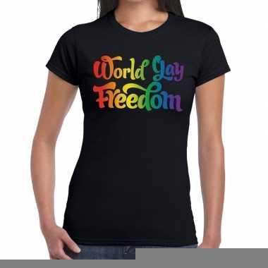 Goedkope gay pride world gay freedom shirt zwart dames