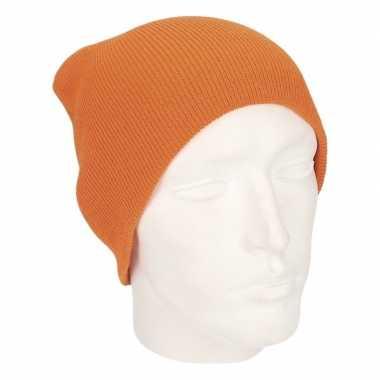 Goedkope gebreide basis muts oranje voor heren