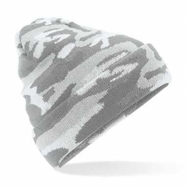 Goedkope gebreide camouflage wintermuts grijs met voering voor dames/