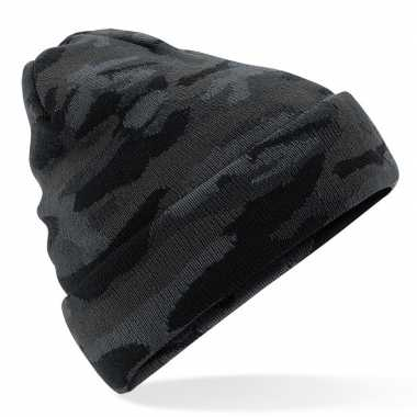 Goedkope gebreide camouflage wintermuts zwart met voering voor dames/