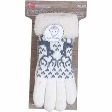 Goedkope gebreide handschoenen creme wit met rendier en nep bont voor