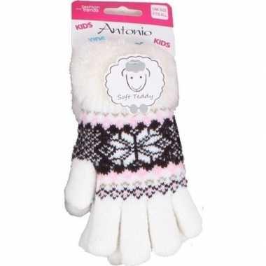 Goedkope gebreide handschoenen creme wit met sneeuwster en nep bont v