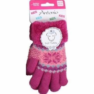 Goedkope gebreide handschoenen fuchsia roze met sneeuwster en nep bon