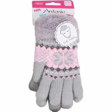 Goedkope gebreide handschoenen grijs met sneeuwster en nep bont voor