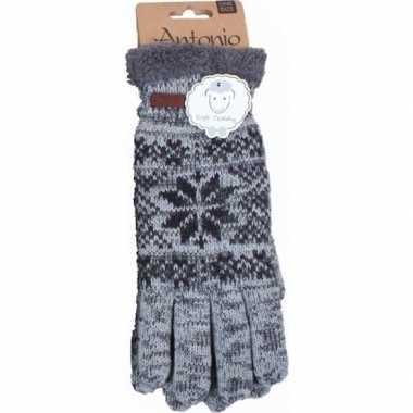 Goedkope gebreide handschoenen grijs met sneeuwster voor heren