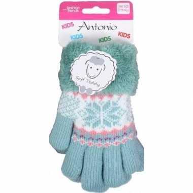 Goedkope gebreide handschoenen mint groen met sneeuwster en nep bont
