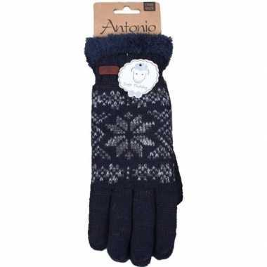 Goedkope gebreide handschoenen navy blauw met sneeuwster voor heren