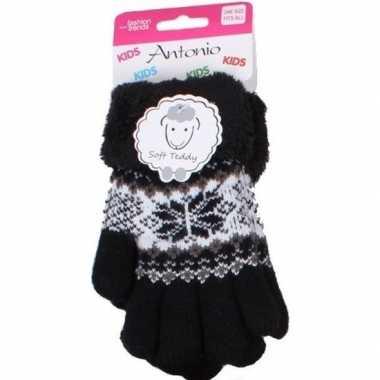 Goedkope gebreide handschoenen zwart met sneeuwster en nep bont voor