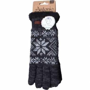 Goedkope gebreide handschoenen zwart met sneeuwster voor heren