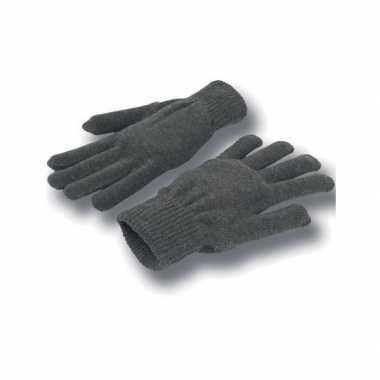 Goedkope gebreide winter handschoenen grijs voor volwassenen