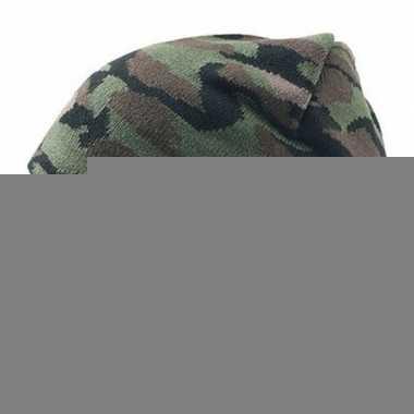 Goedkope gebreide winter muts camouflage voor volwassenen