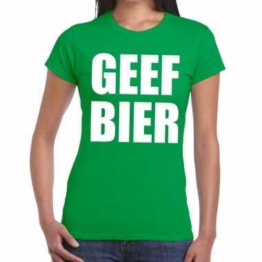 Goedkope geef bier fun t shirt groen voor dames