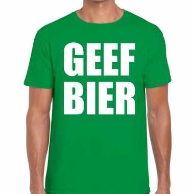 Goedkope geef bier fun t shirt groen voor heren