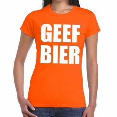 Goedkope geef bier fun t shirt oranje voor dames