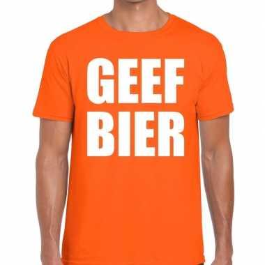 Goedkope geef bier fun t shirt oranje voor heren