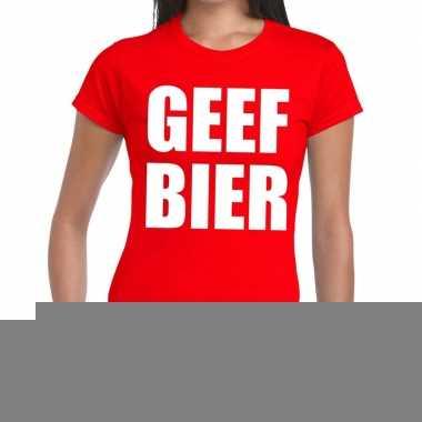 Goedkope geef bier fun t shirt rood voor dames