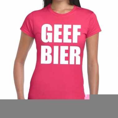 Goedkope geef bier fun t shirt roze voor dames