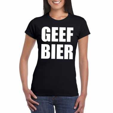 Goedkope geef bier fun t shirt voor dames zwart