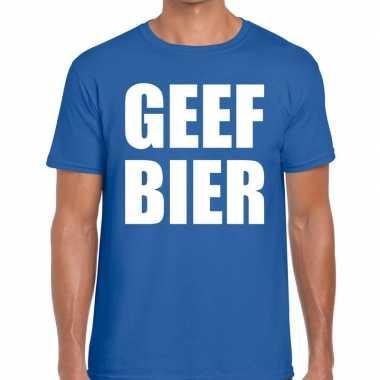 Goedkope geef bier fun t shirt voor heren blauw