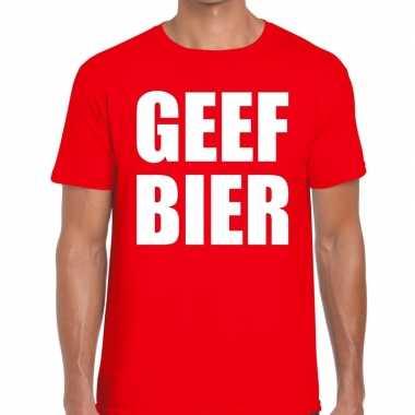 Goedkope geef bier fun t shirt voor heren rood