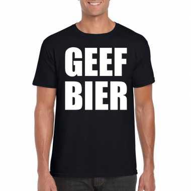 Goedkope geef bier fun t shirt voor heren zwart