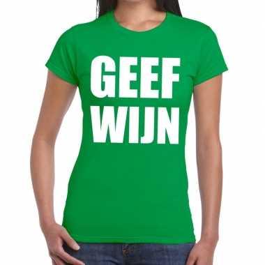 Goedkope geef wijn fun t shirt groen voor dames