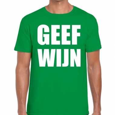 Goedkope geef wijn fun t shirt groen voor heren