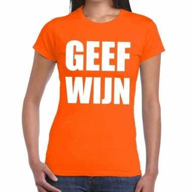 Goedkope geef wijn fun t shirt oranje voor dames
