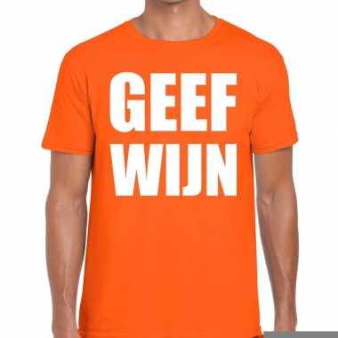 Goedkope geef wijn fun t shirt oranje voor heren