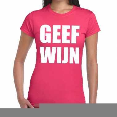 Goedkope geef wijn fun t shirt roze voor dames