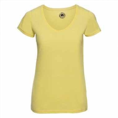 Goedkope geel dames t shirts met v hals